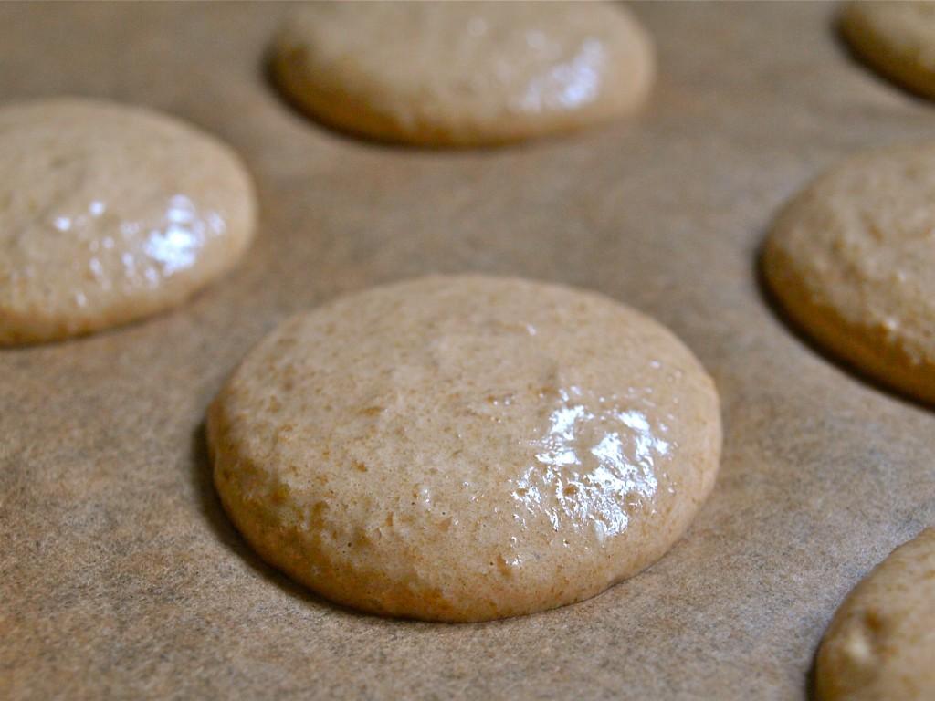 unbaked coffee macaron shells