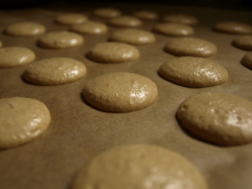 Raw macaron shells ready for baking