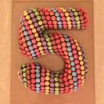 5th Birthday Cake number 5 chocolate smarties
